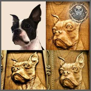 Personalize Fine Art Carving Portrait of Your Dog