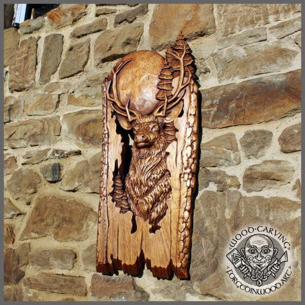 Deer Figure Wood Carved Wall Art