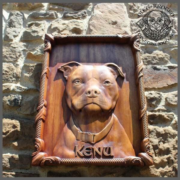 photo dog on wood
