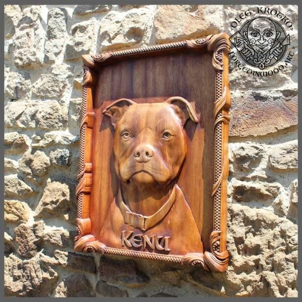 Custom pet portrait on wood