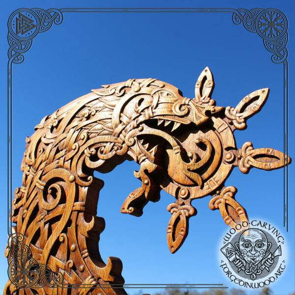 Wolf of Odin carving wood art