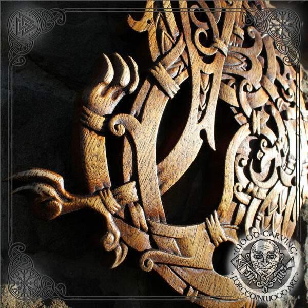 fenrir wood carved