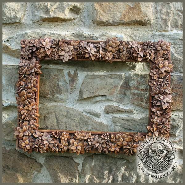 Floral wooden frame