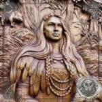 Freya norse mythology wood carving