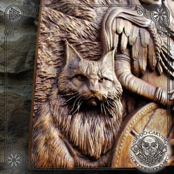 Freya Thror wood carving