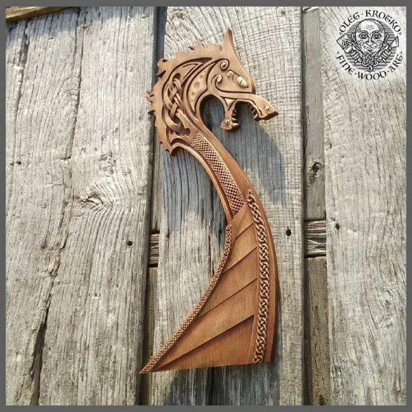 Carved Wood Viking Ship Wall Hanging
