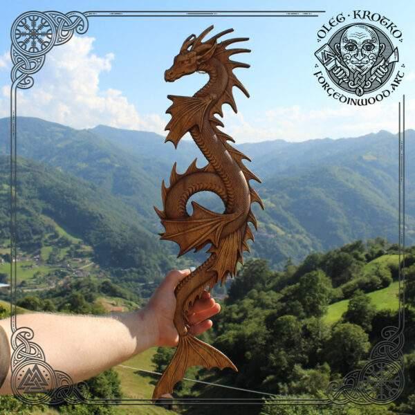 Water dragon pagan art wood carving