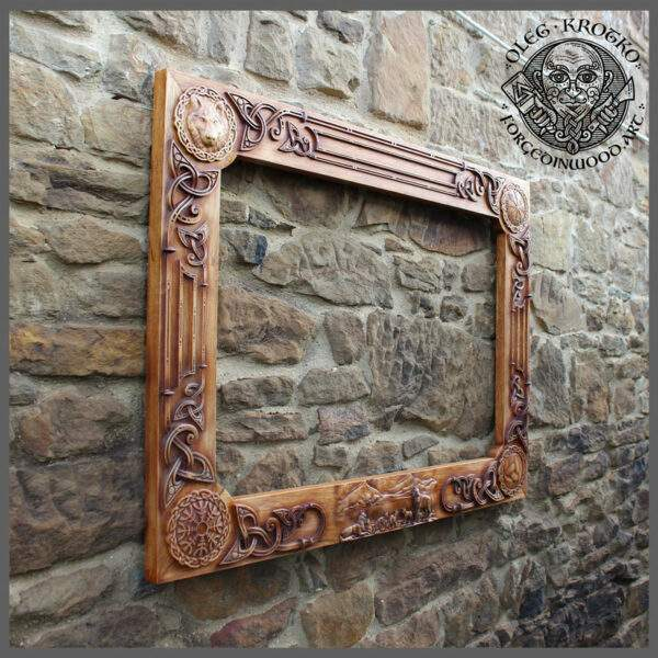 Wolf Wooden Frame Viking Style