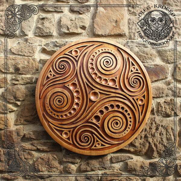 Tribal Triskelion wood carving