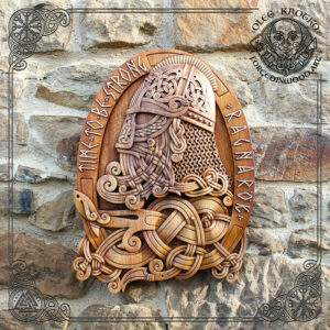Odin norse god wood carving