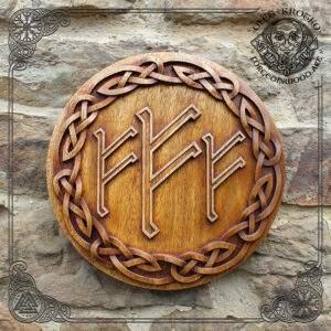 triple fehu runes wood carving