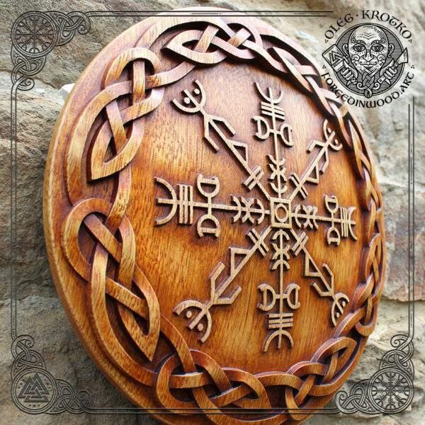 Amulet viking wood art wall