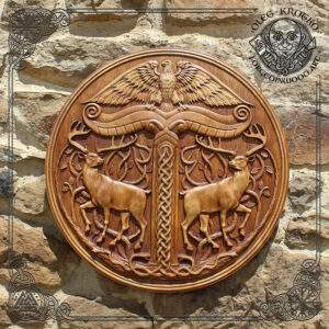 Irminsul in round frame wood carving