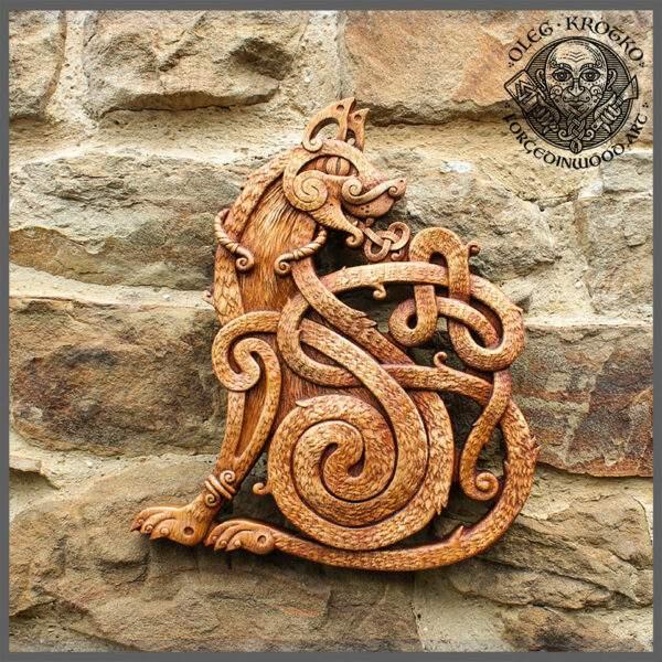 Celtic Cat Wall Design wood carving