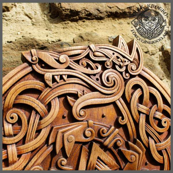 Celtic Wolfs norse wood carvings
