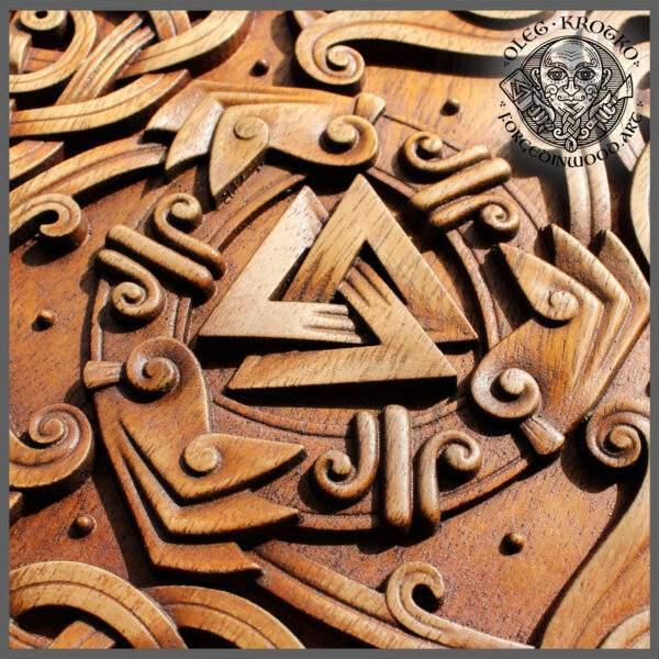wood carving viking symbol