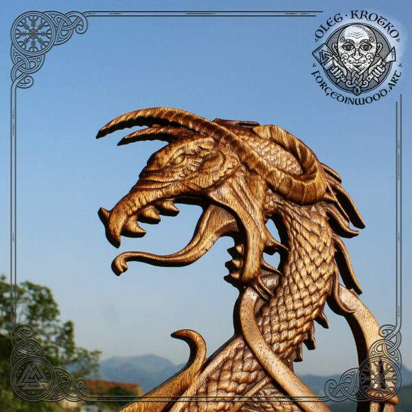 Dragon Fenrir wood carving