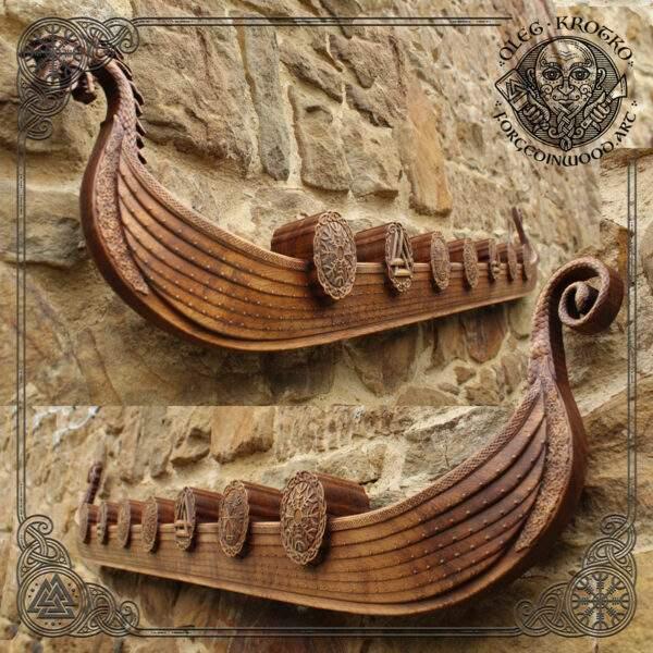 Large Viking Boat Drakkar carved in Wood