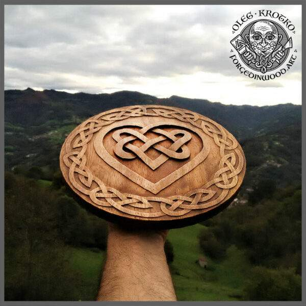 Celtic Love heart wood carving