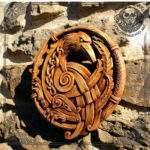 raven viking wood carving