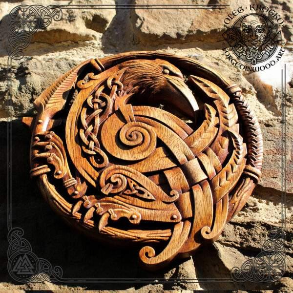 Celtic raven carvings