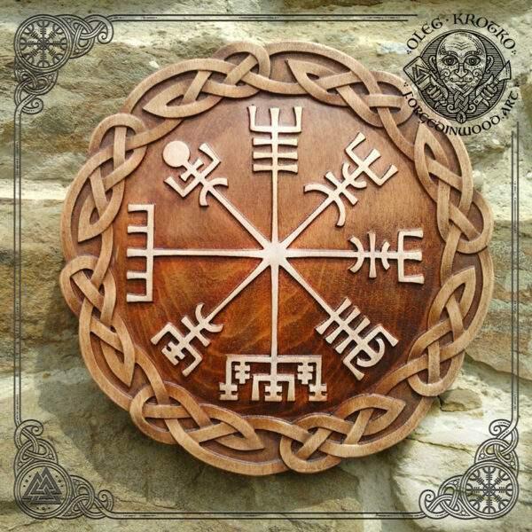 Vegvisir rune carved in wood