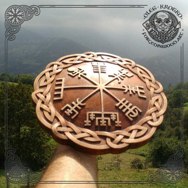 vegvisir rune circle carved in wood
