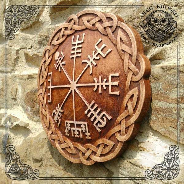 Norse Vegvisir wood carving for sale