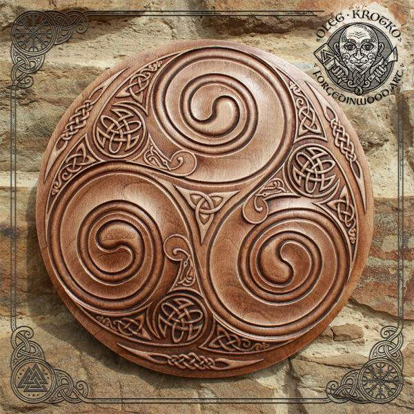 Triskelion Wall Art wood carving
