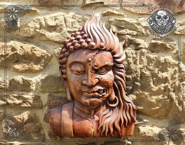 Buddha Mahakala Luxury Wood Carved Tibetan Icon