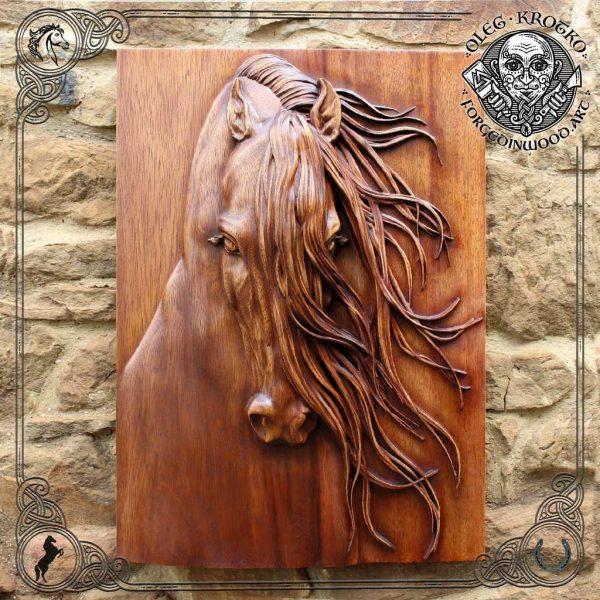 wooden horse portrait