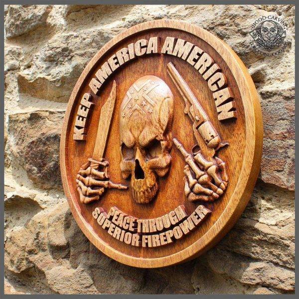 Wood Picture Cranium Carving Wall Hanging