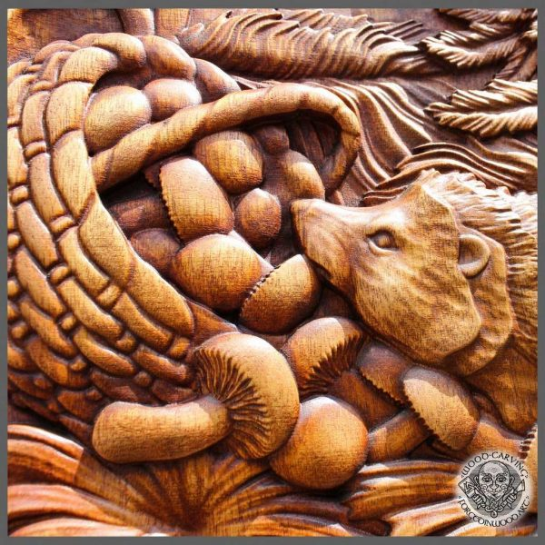 Hedgehog Wood Carving Picture Lover Gift