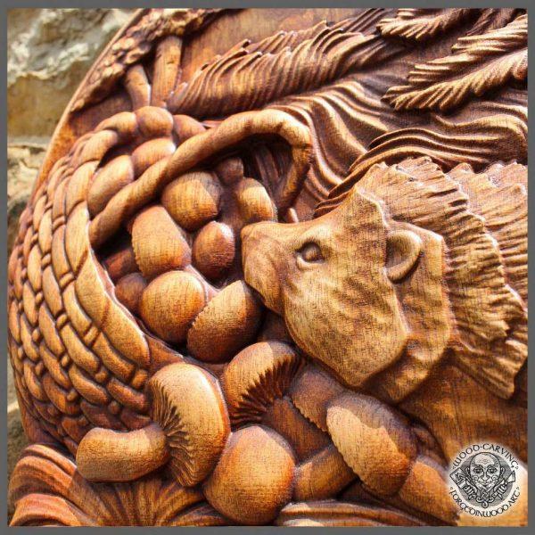 Hedgehog wood carving for sale