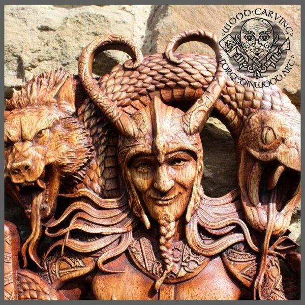 Loki ancient viking wooden art for sale