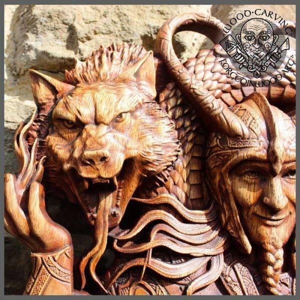 Loki wooden carving