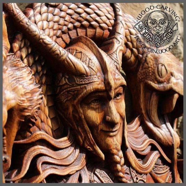 loki norse mythology wood carving