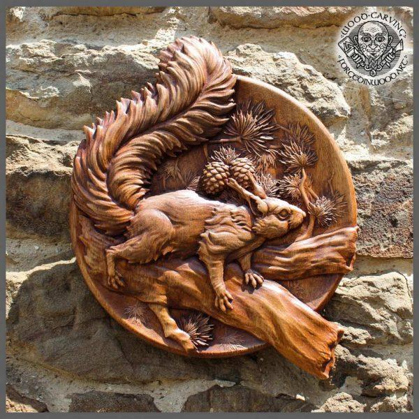 Squirrel animal carving