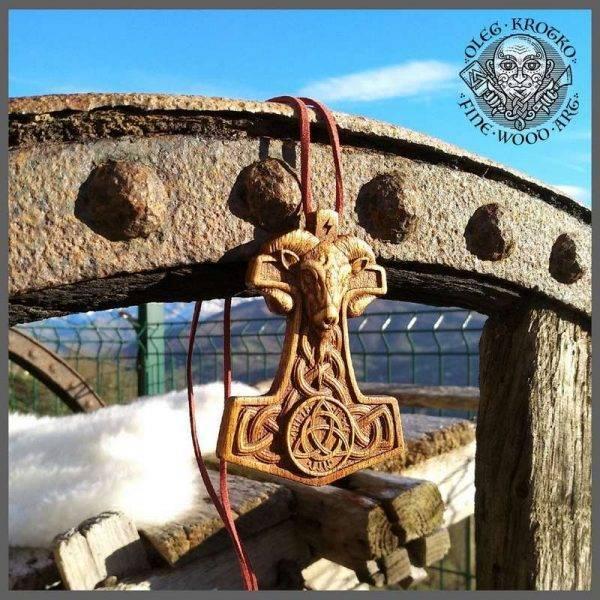 Wooden Thor Hammer pendant