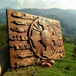 American flag wood carving viking style