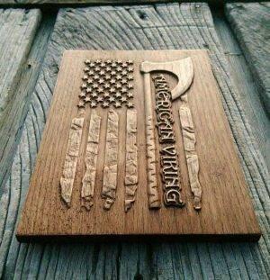 American flag viking wood carving
