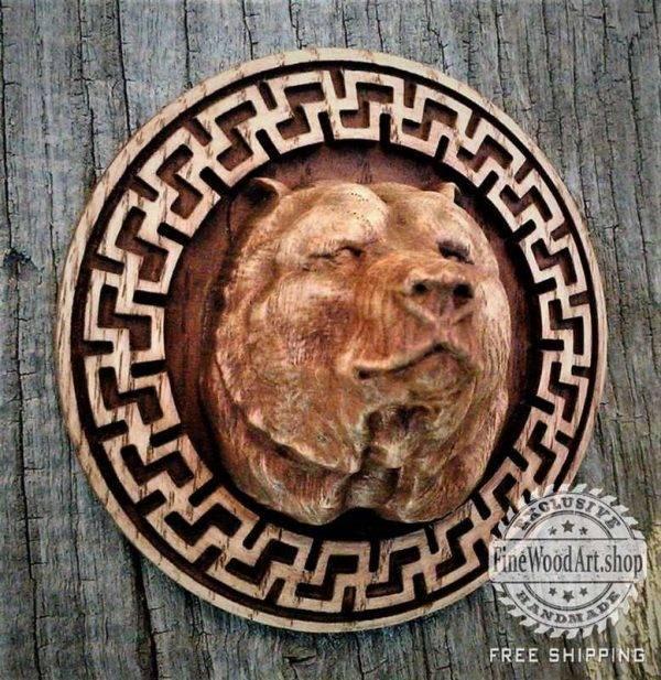 Bear Fylfot wood carving