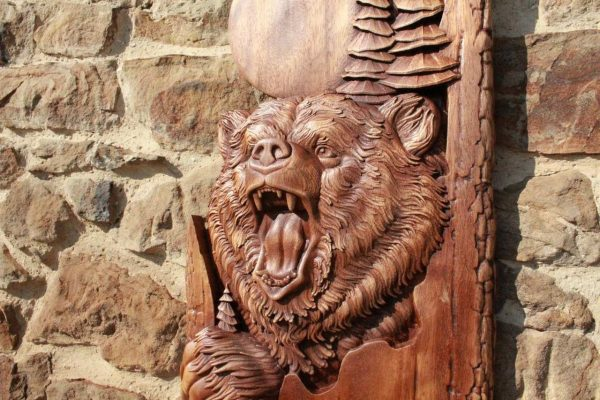 bear wood carving for sale