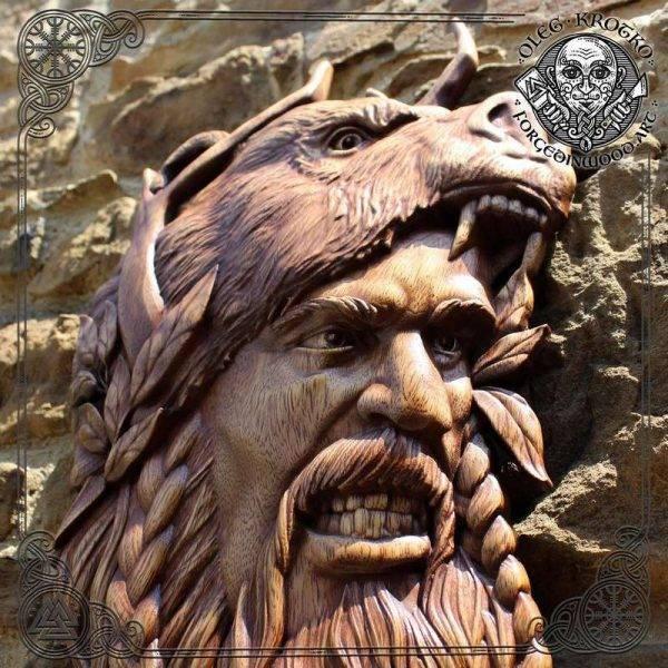 berserker viking warrior carving