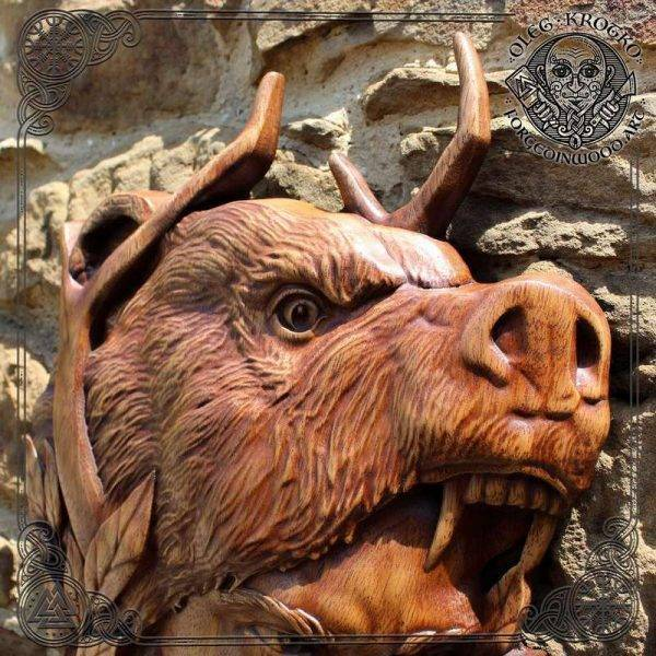 Wolf warriors wood carving berserker
