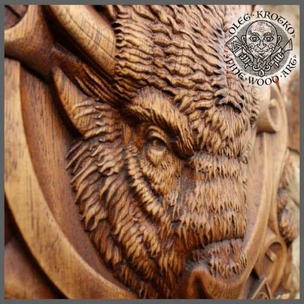 carved wood buffalo decor wall