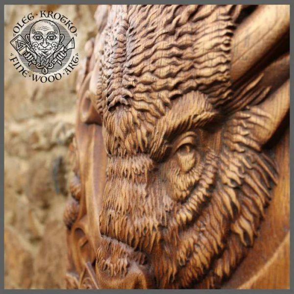 wood buffalo carvings