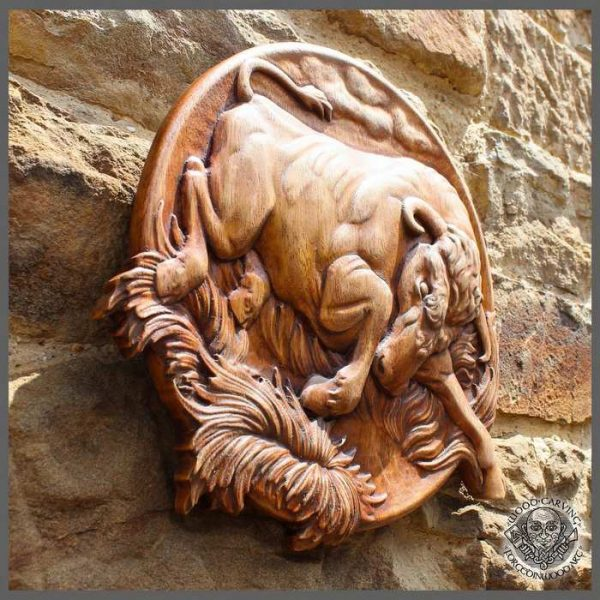 Bull hand carved