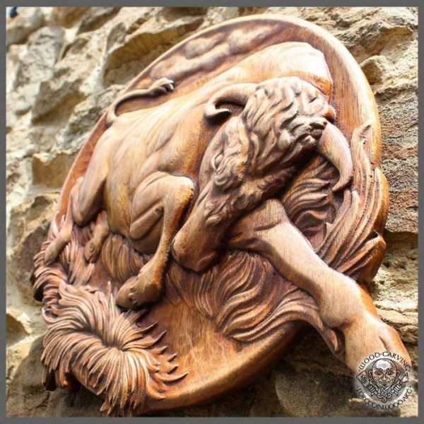 Carved wooden bull
