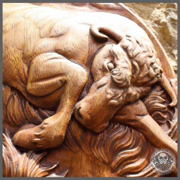 Bull wood carving Animal Dark Brown